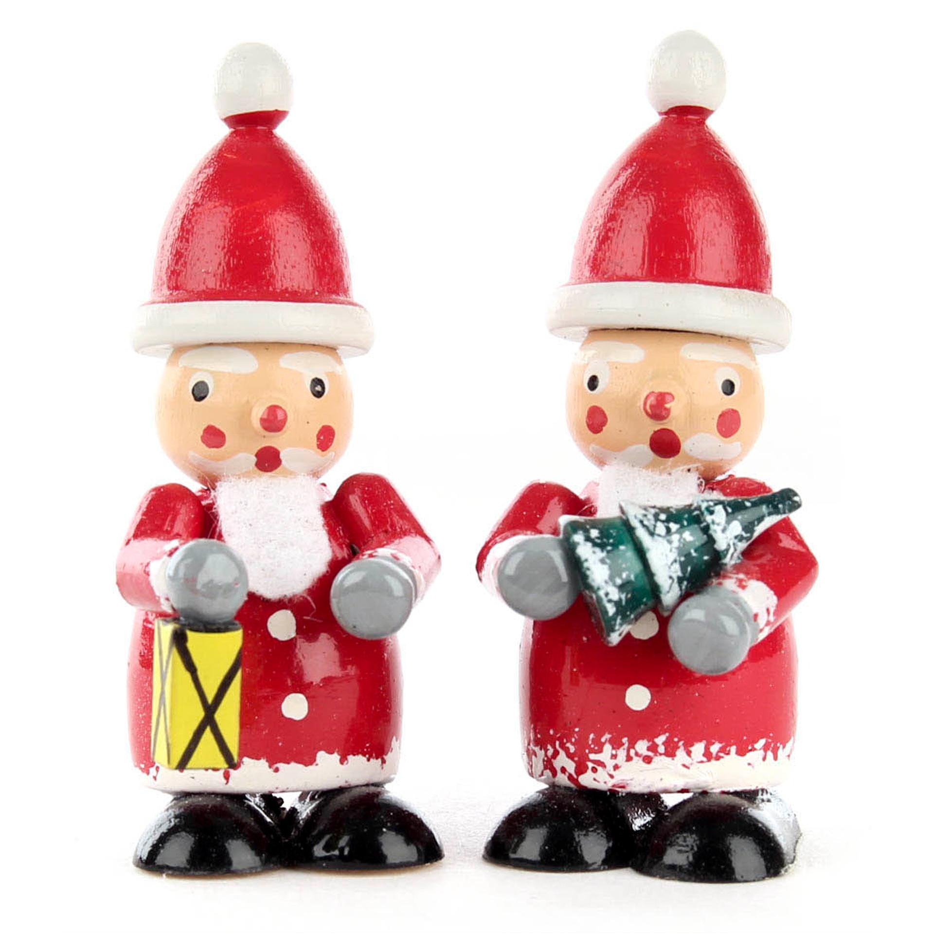 Miniatur Weihnachtsmänner mit Baum und Laterne, farbig