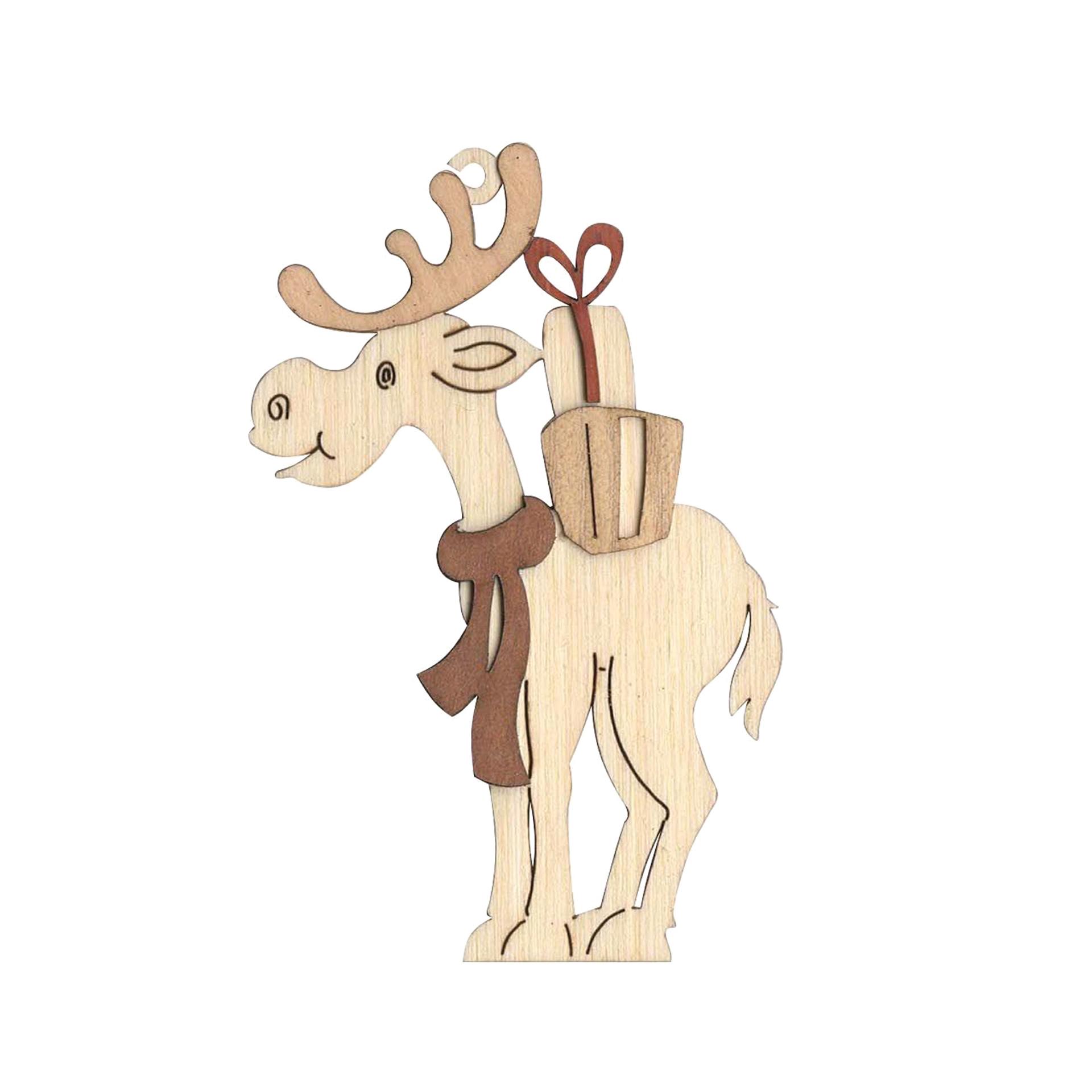 Baumschmuck Elch mit Geschenk