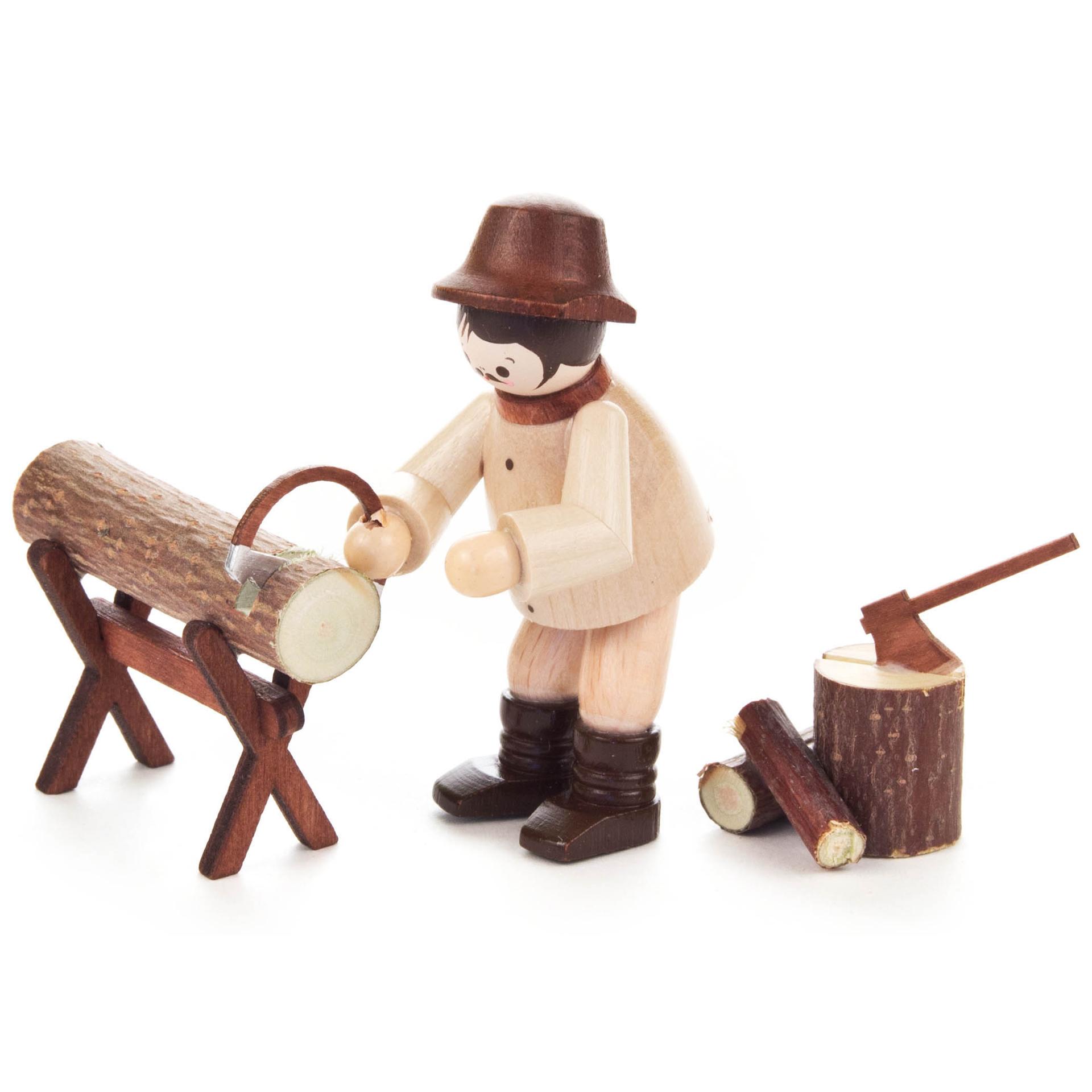 Waldarbeiter beim Sägen