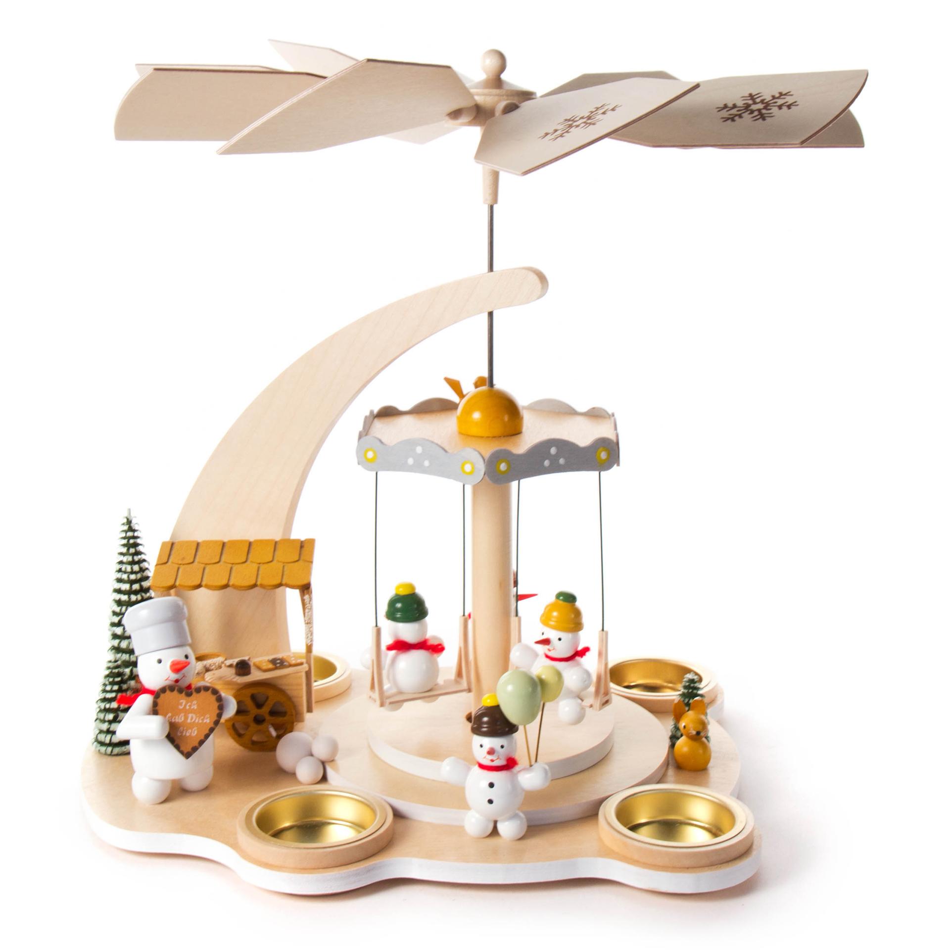 Pyramide Schneemann-Karusell, für Teelichte