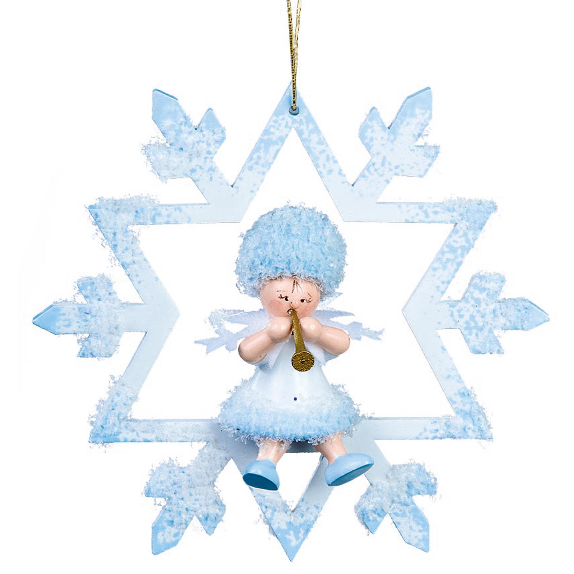 Baumschmuck Schneeflöckchen mit Klarinette im Kristall