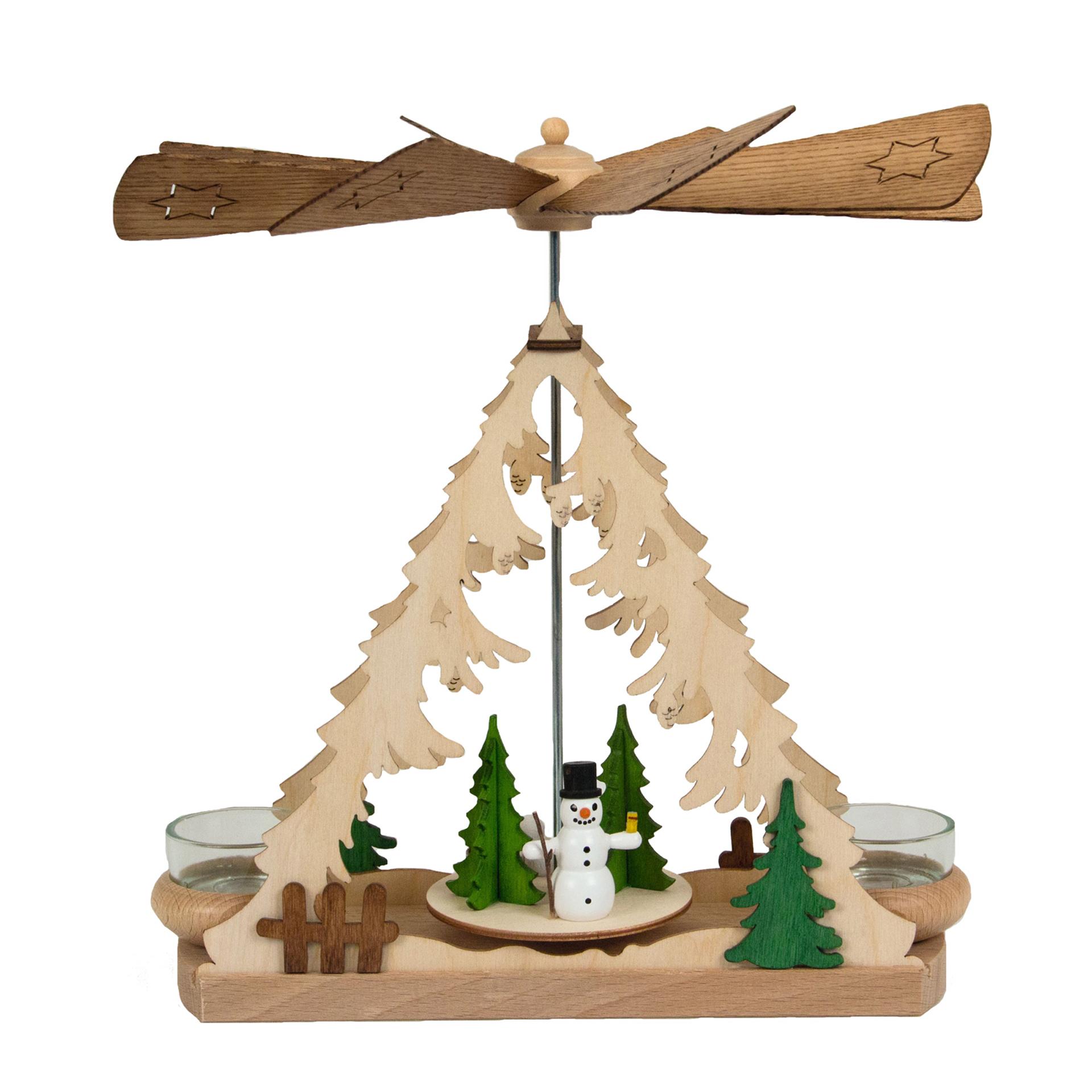 Teelichtpyramide mit Schneemann