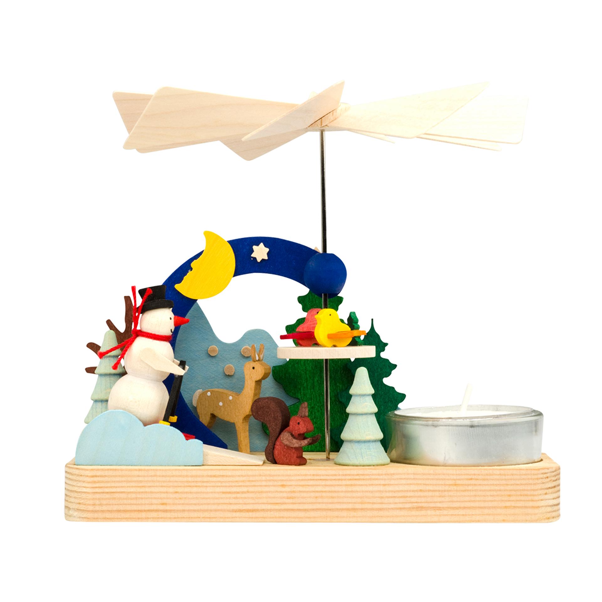 Mini Pyramide mit Schneemann, für Teelichter