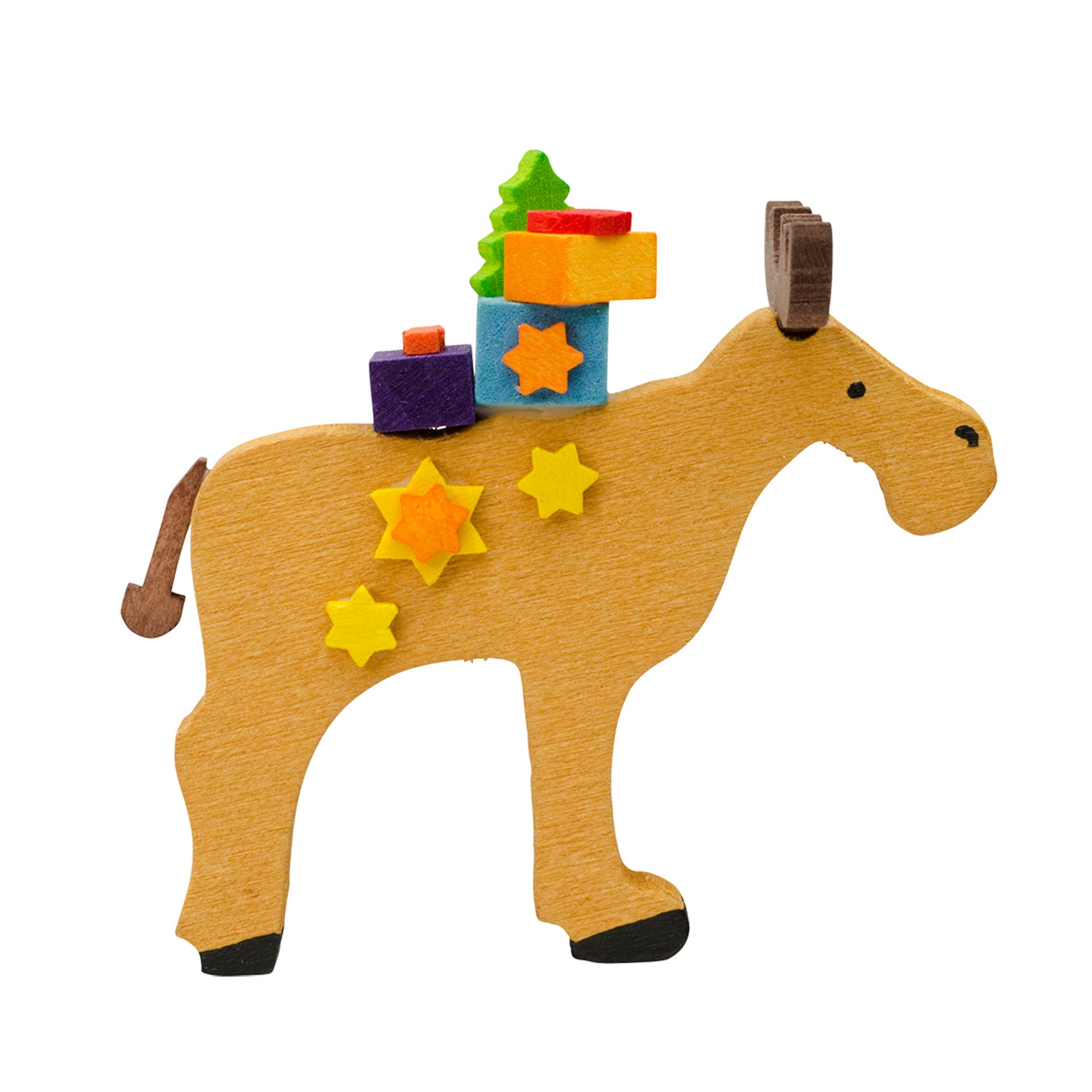 Baumschmuck Elch mit Spielzeug