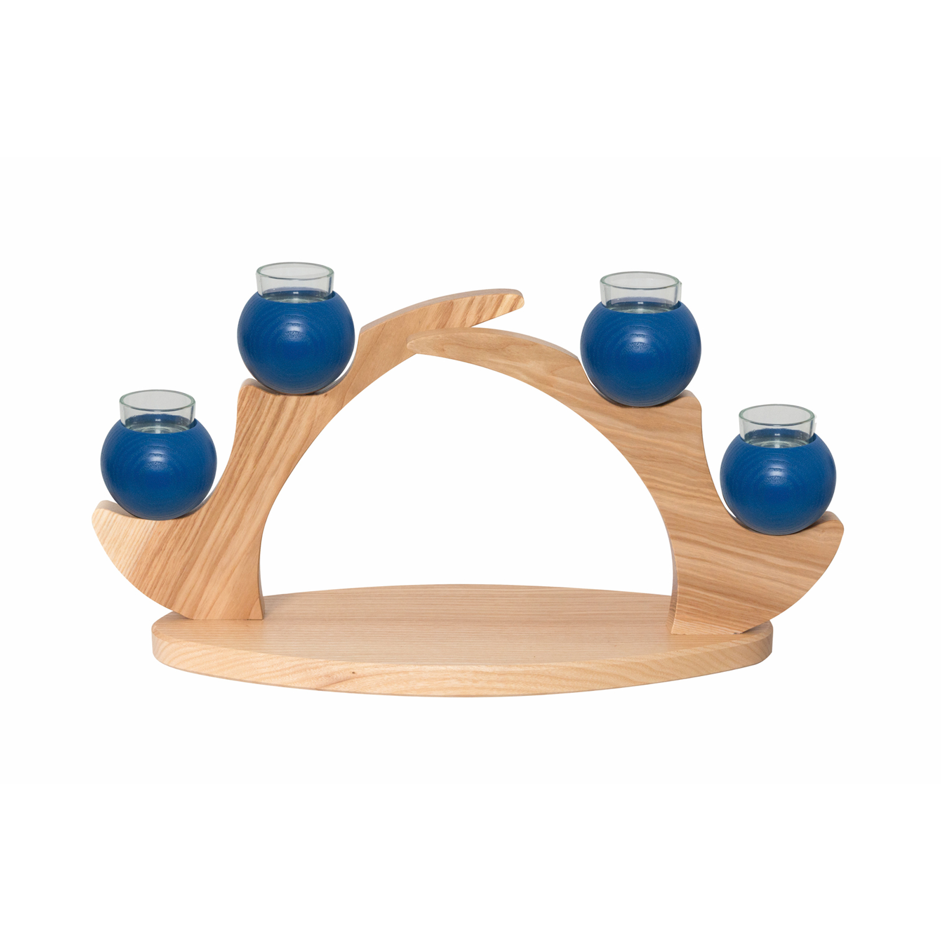 Tischleuchter 4 Kerzen, blau
