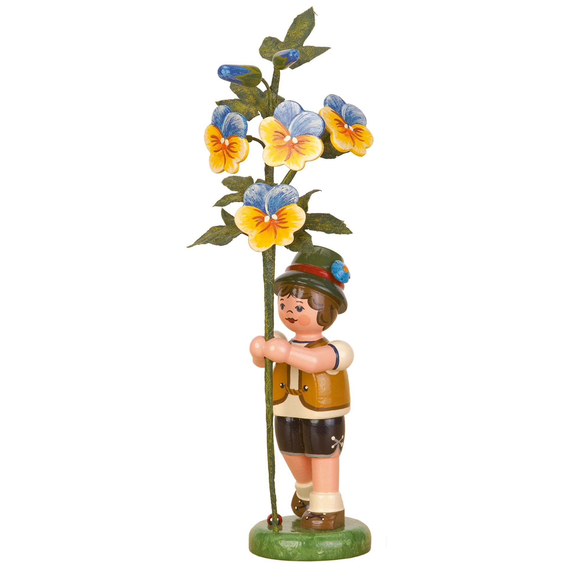 Blumenkind Junge mit Hornveilchen