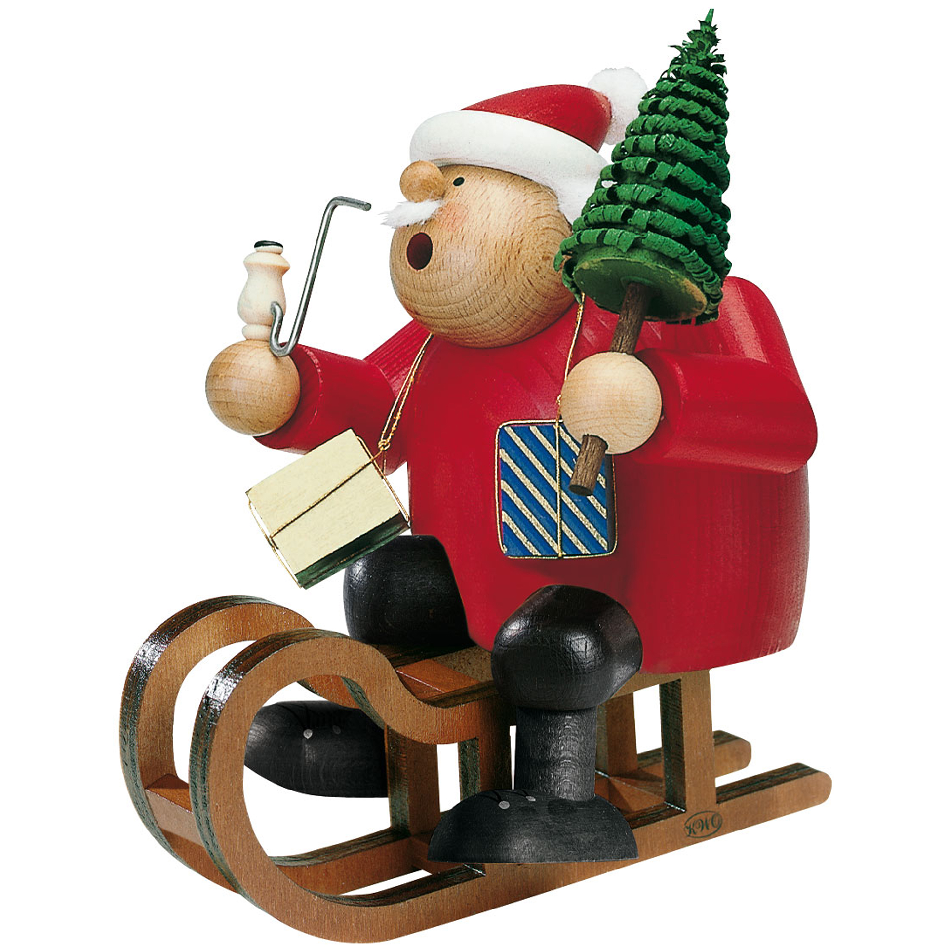 Rauchfigur Weihnachtsmann mit Schlitten