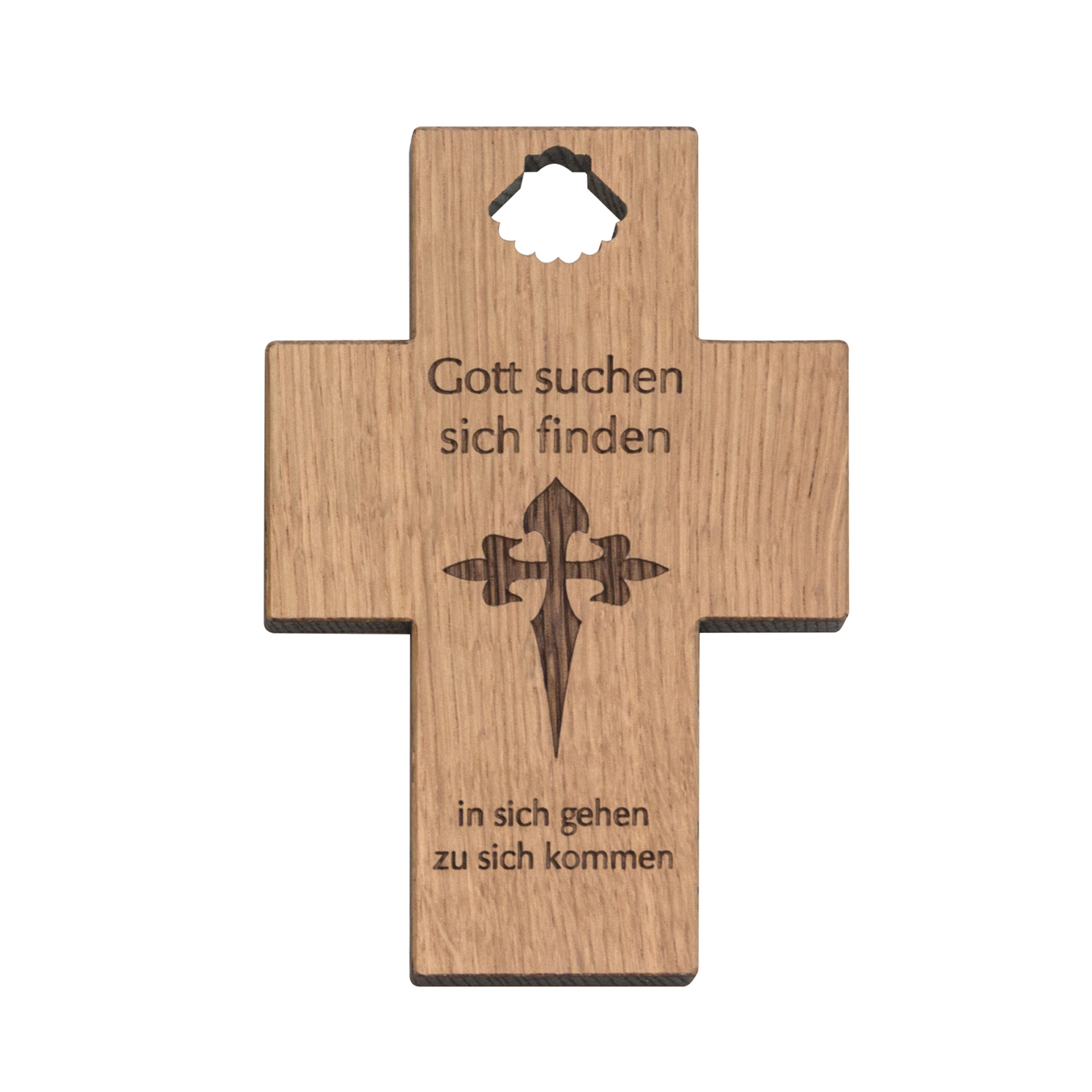 "Kreuz  ""Jakobs-Kreuz"" mit Text, Eiche"