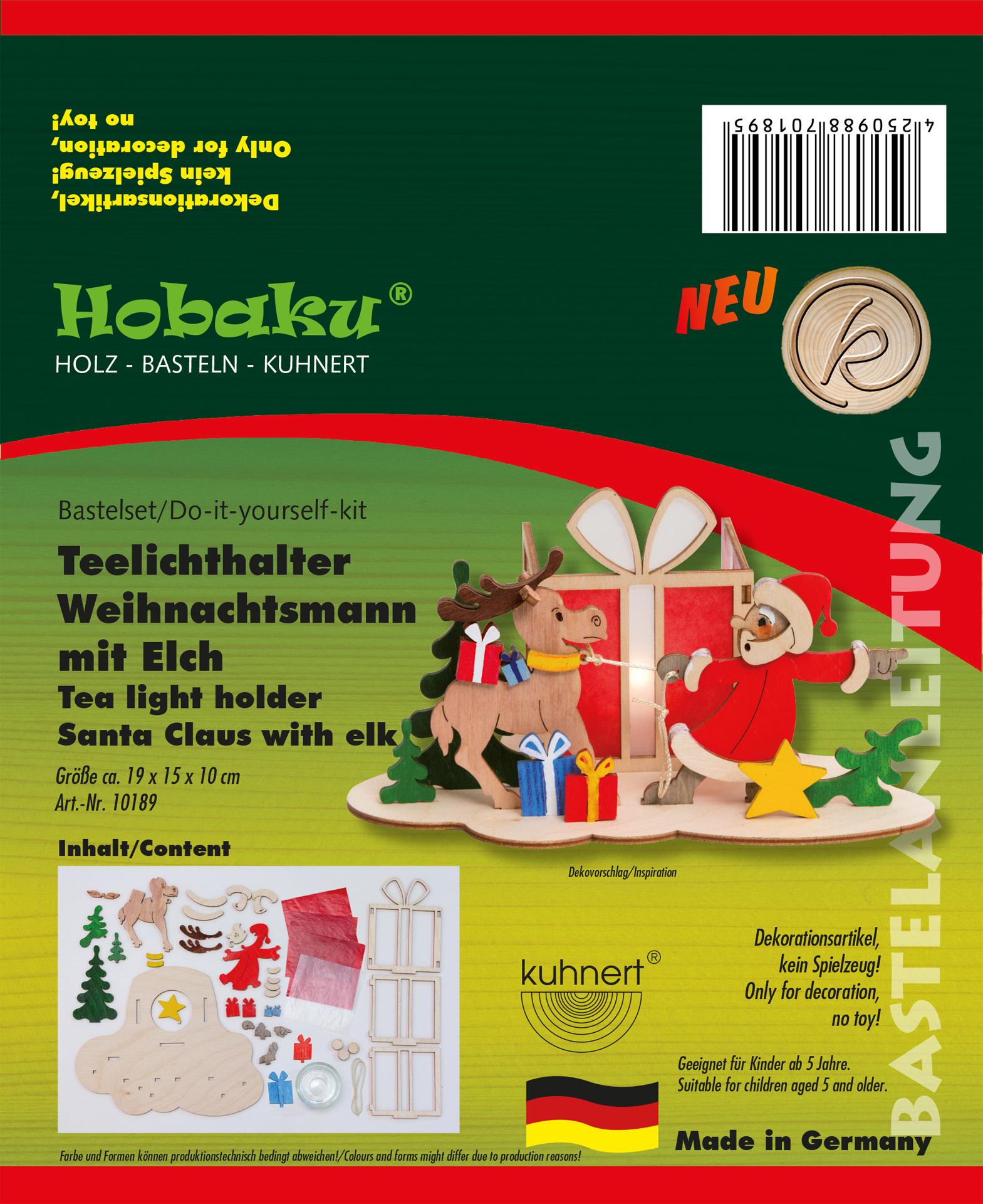 Bastelset Teelichthalter Weihnachtsmann mit Elch