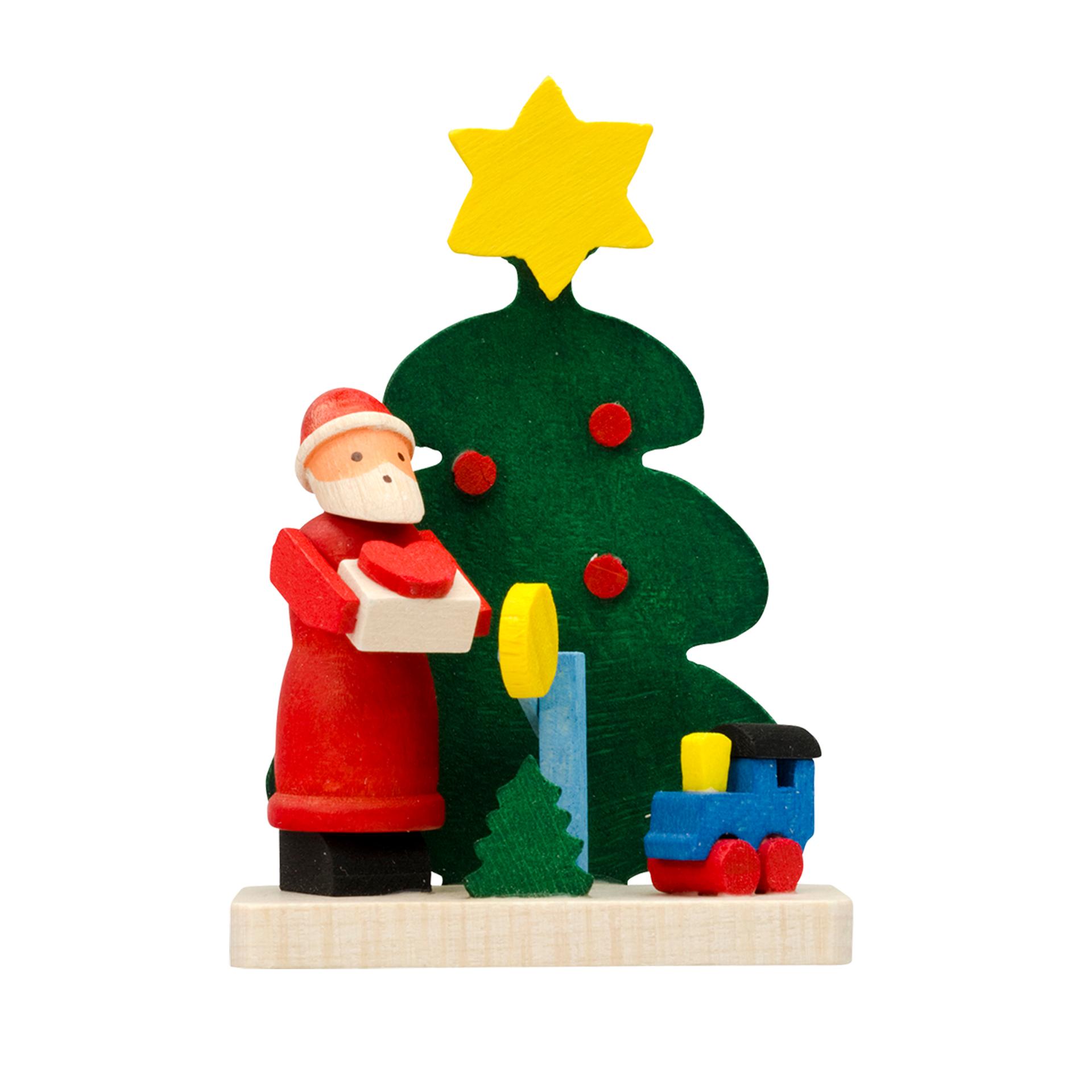 Baumschmuck Baum mit Weihnachtsmann und Eisenbahn