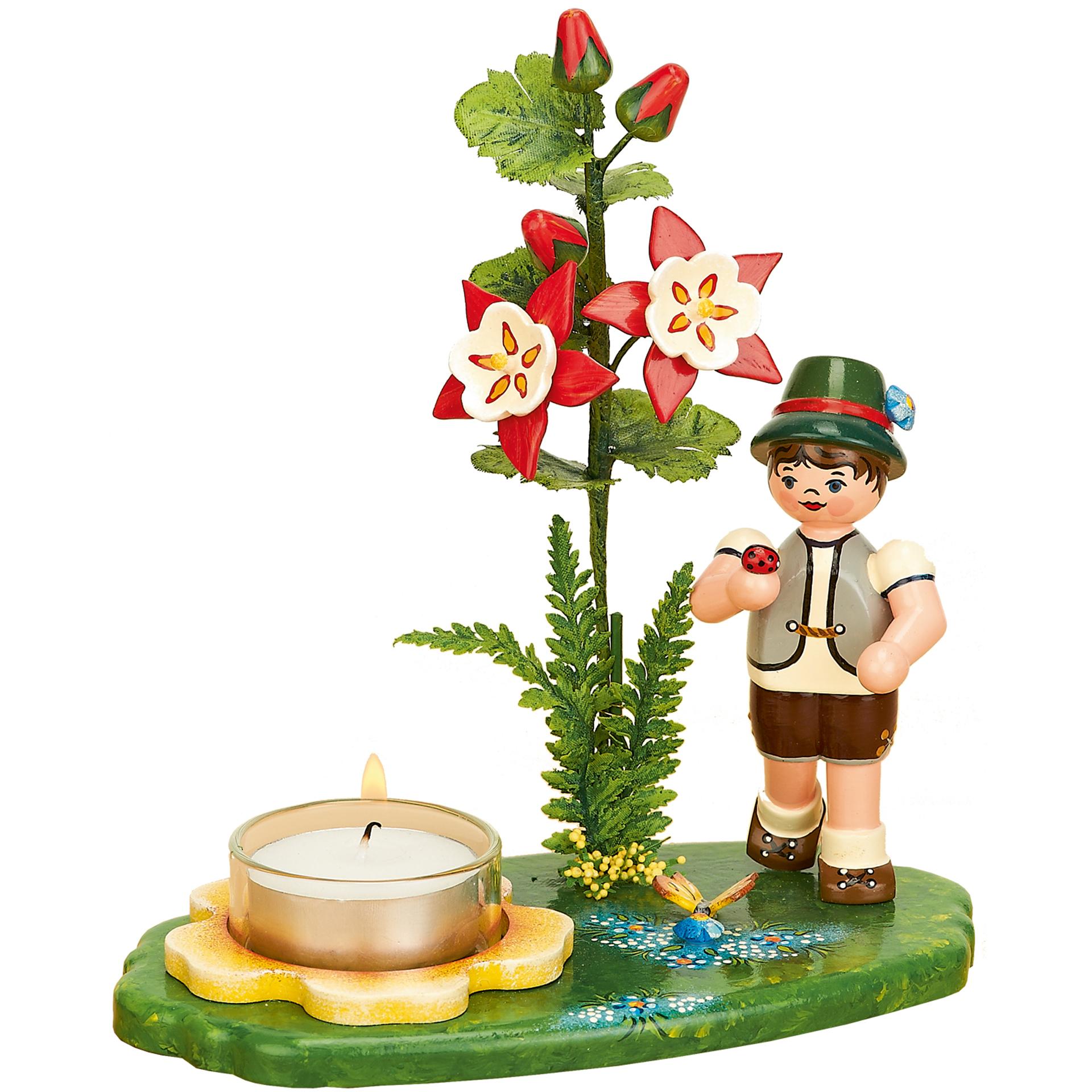 Lichterhalter Blumenkind Junge mit Akelei