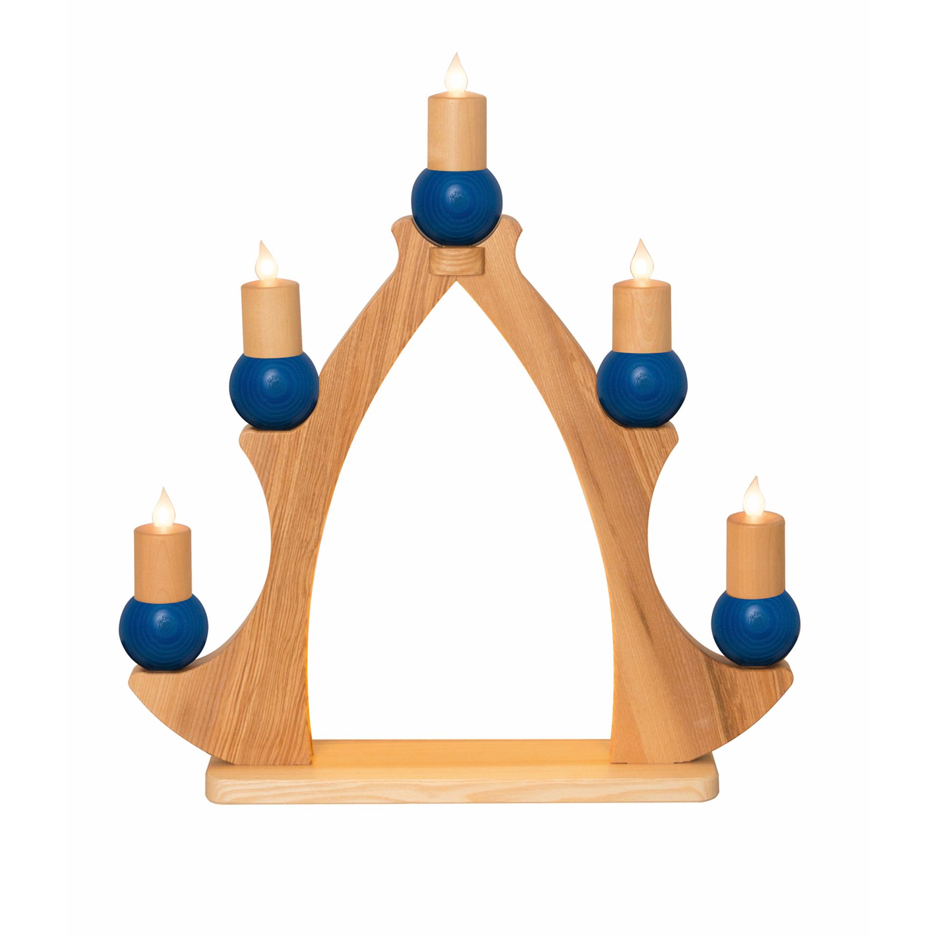 Fensterbaum 5 Kerzen, elektr. blau
