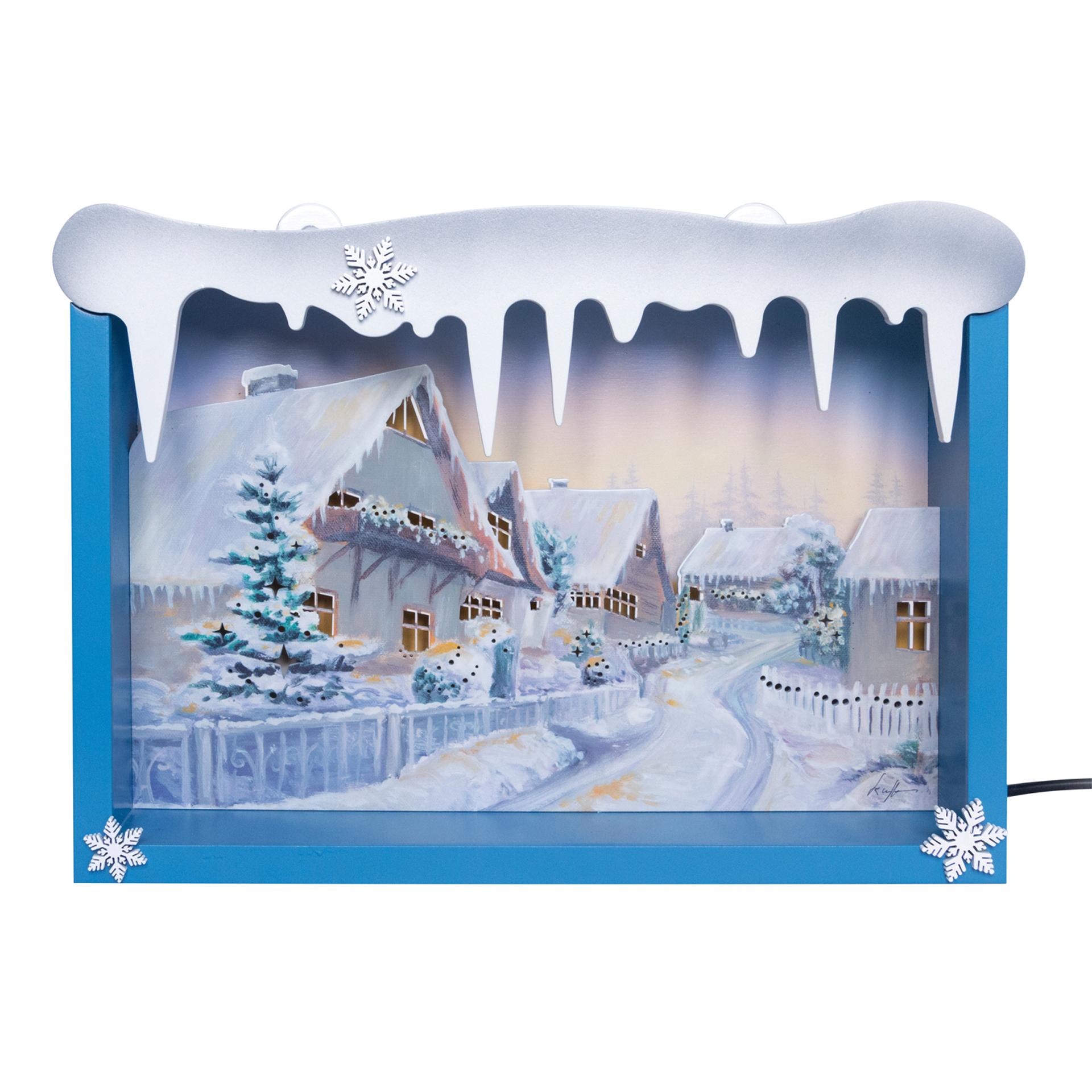 Schneeflöckchenbild Winterhäuser LED beleuchtet