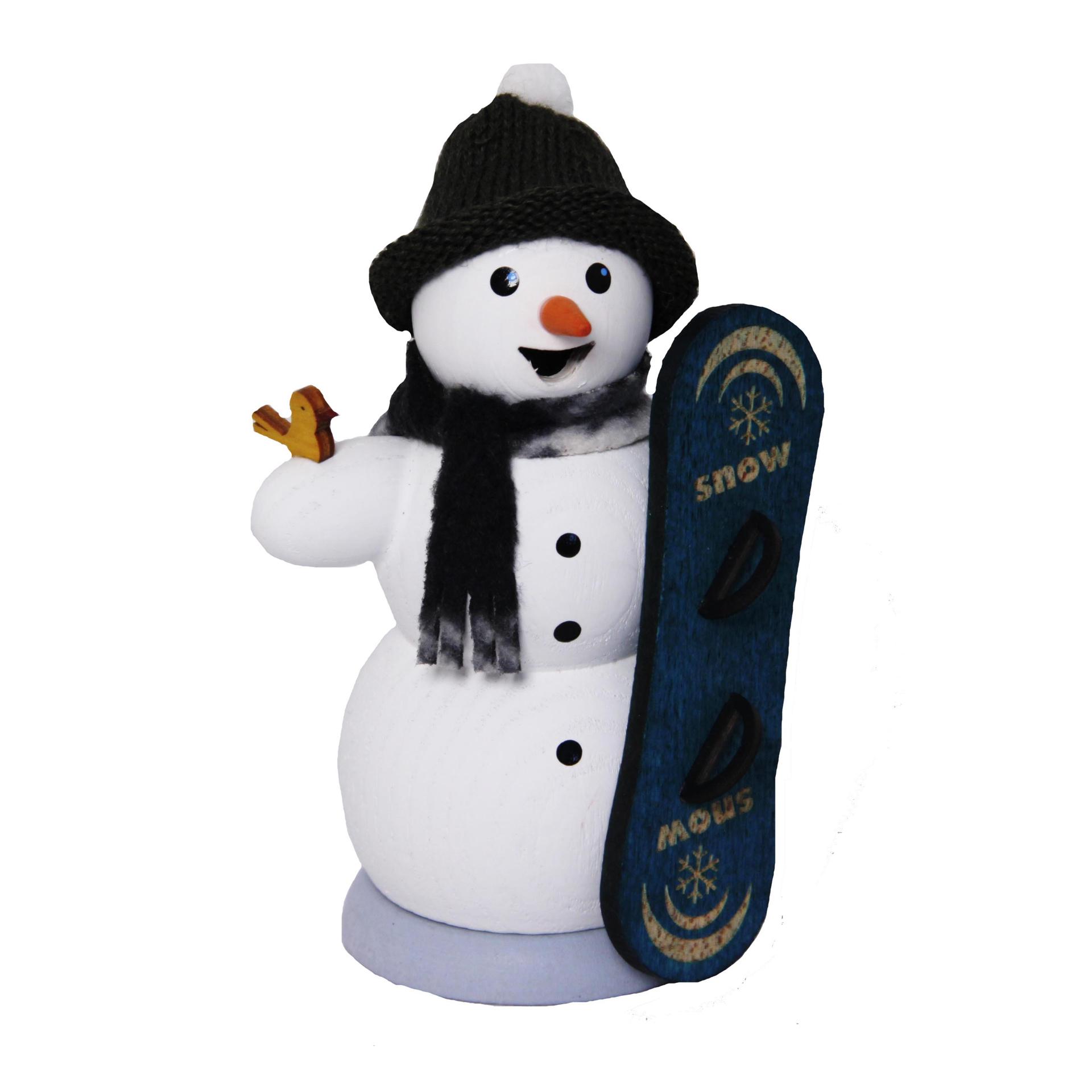 Schneemann mit Snowboard