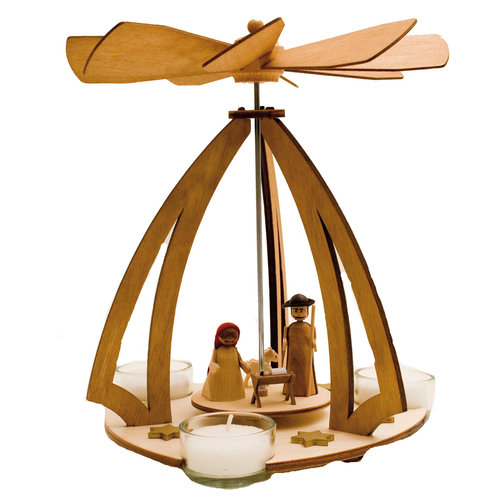 Teelichtpyramide mit Weihnachtskrippe