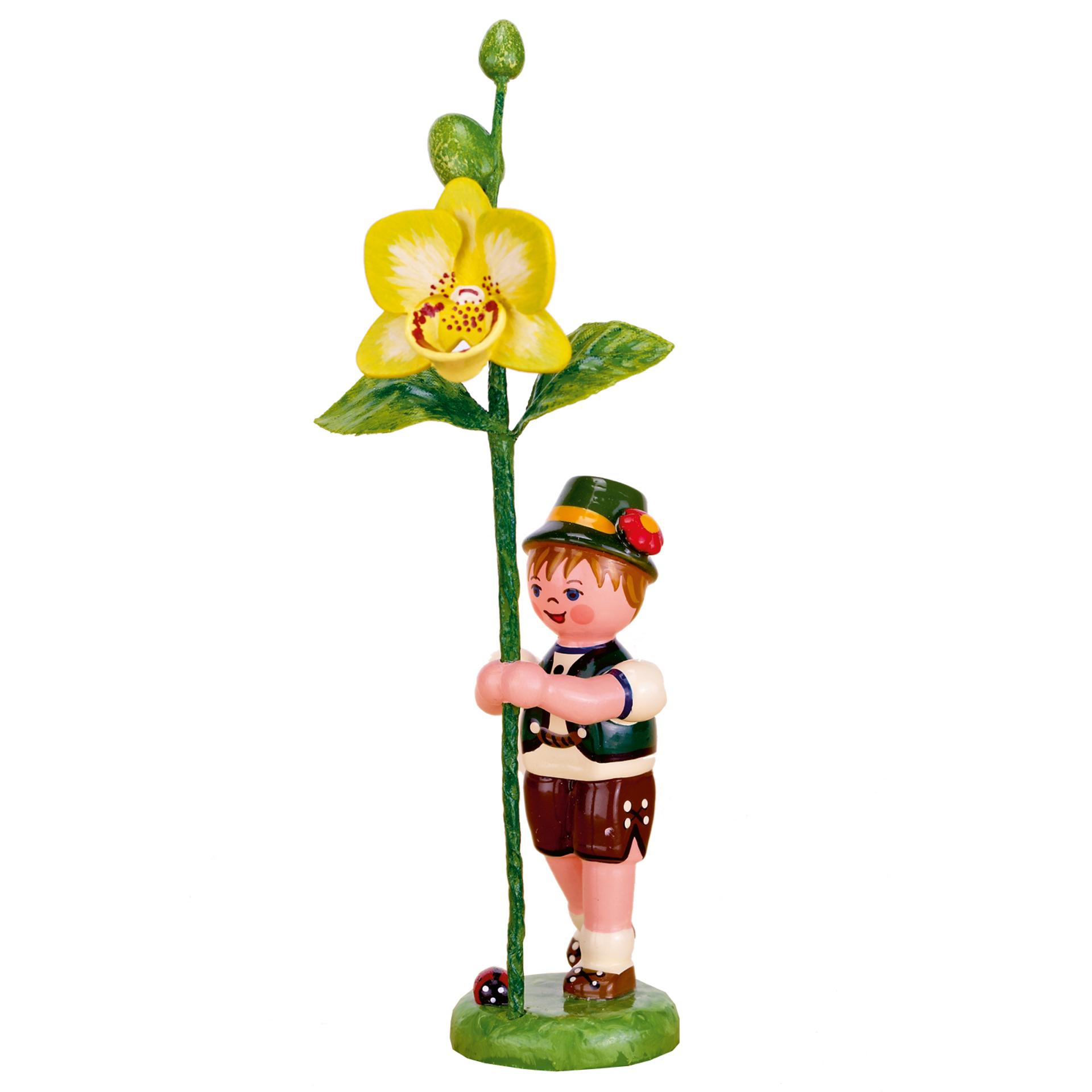 Blumenkind Junge mit Orchidee
