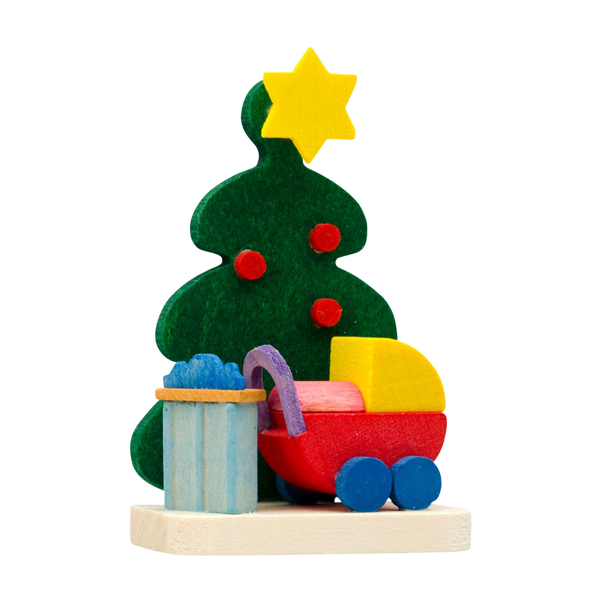 Baumschmuck Baum und Puppenwagen