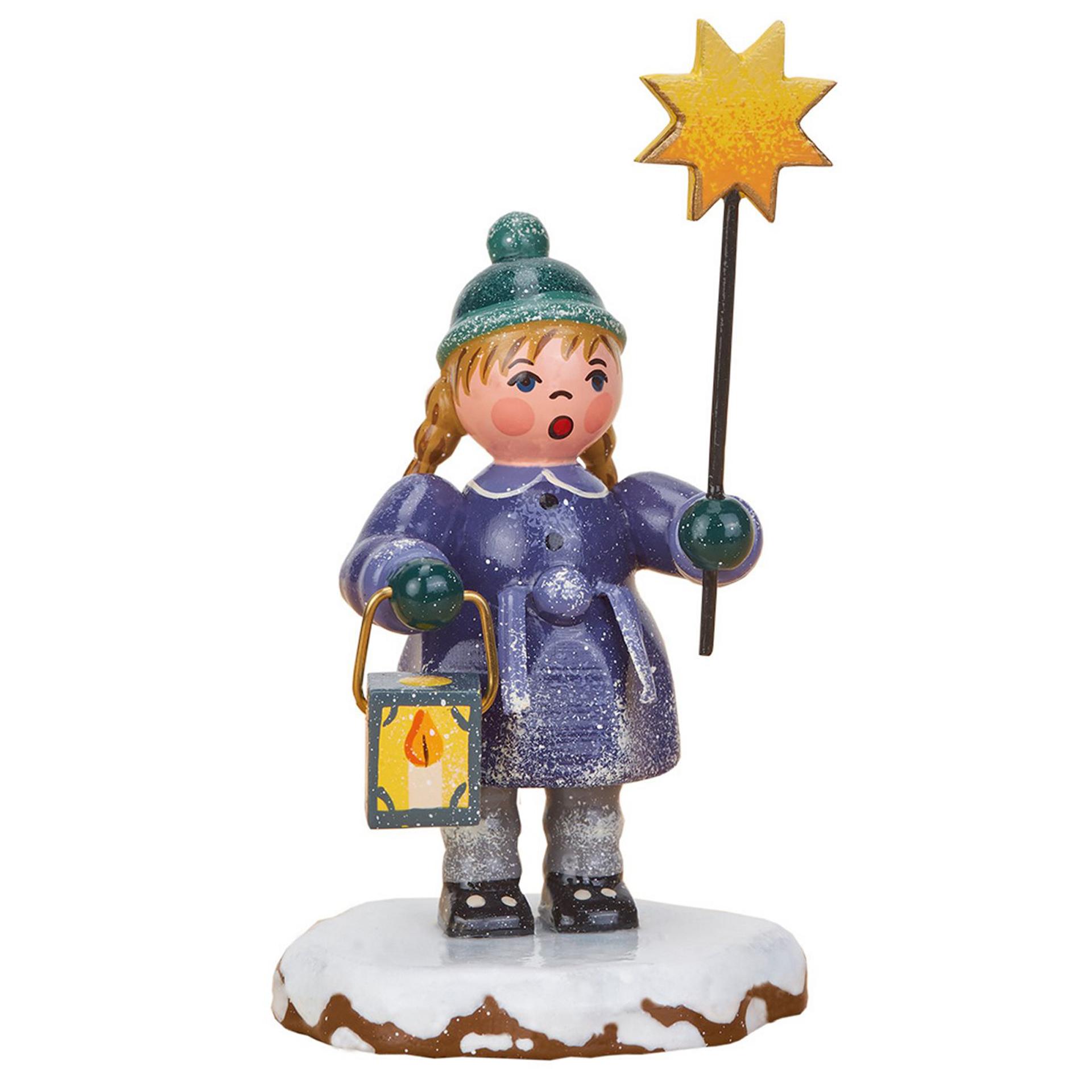 Winterkind Mädchen mit Stern und Laterne