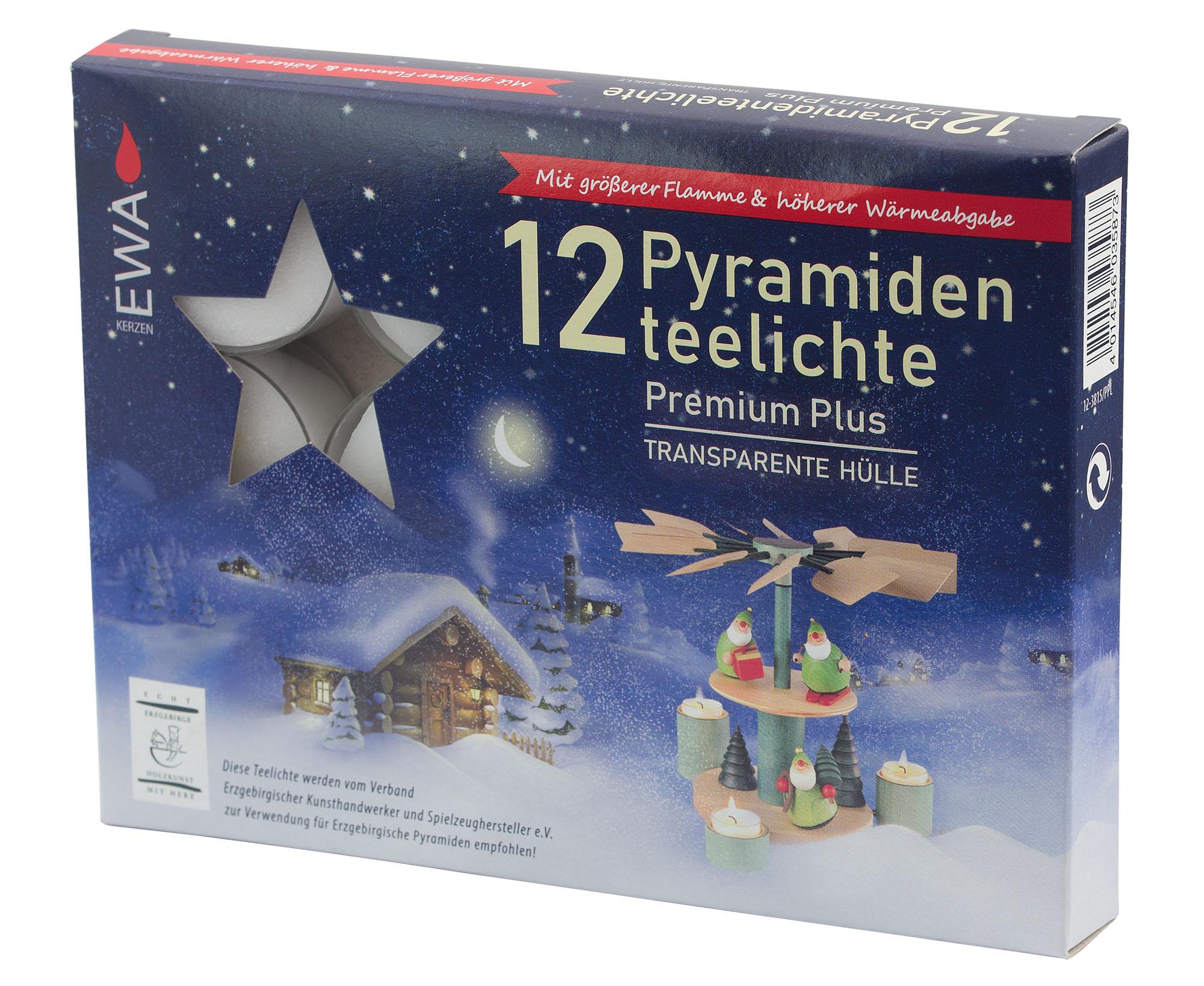 Pyramidenteelichte, 12er Pack