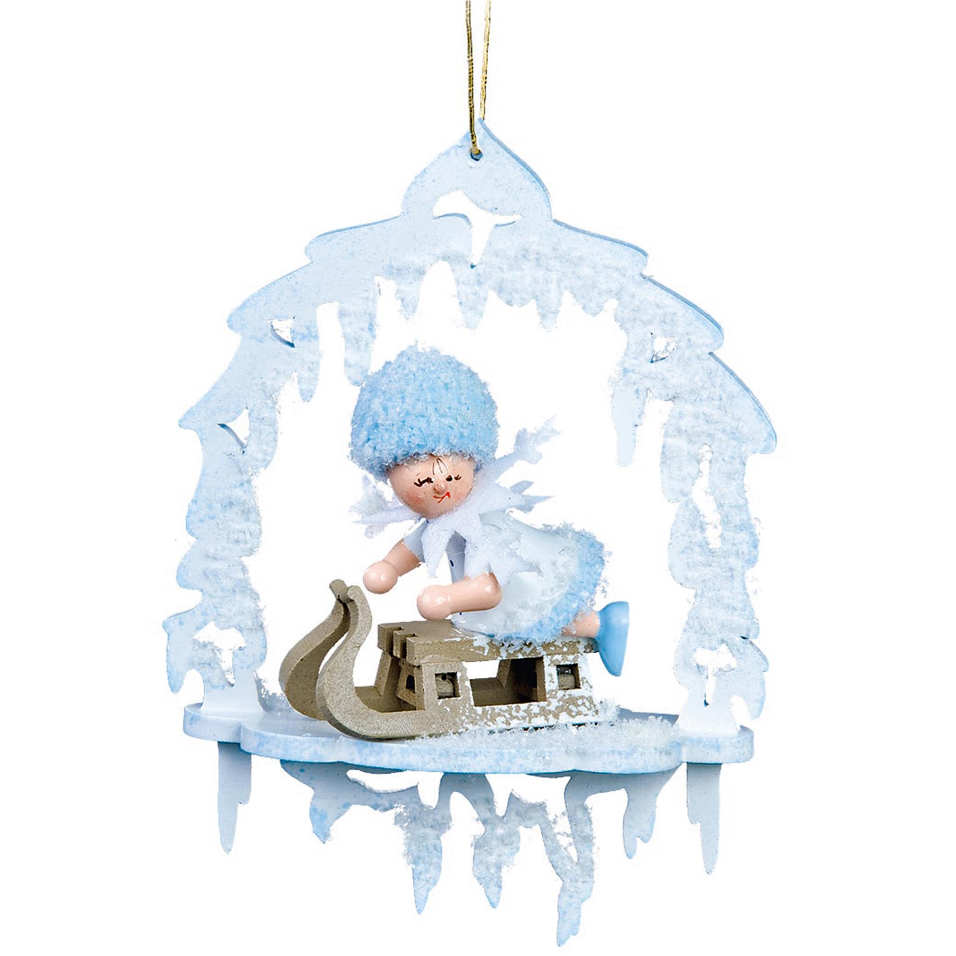 Baumschmuck Schneeflöckchen mit Schlitten