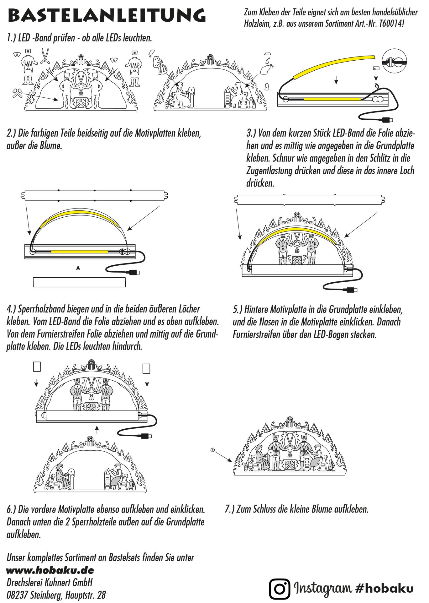 Bastelset Schwibbogen Erzgebirge mit LED-Band