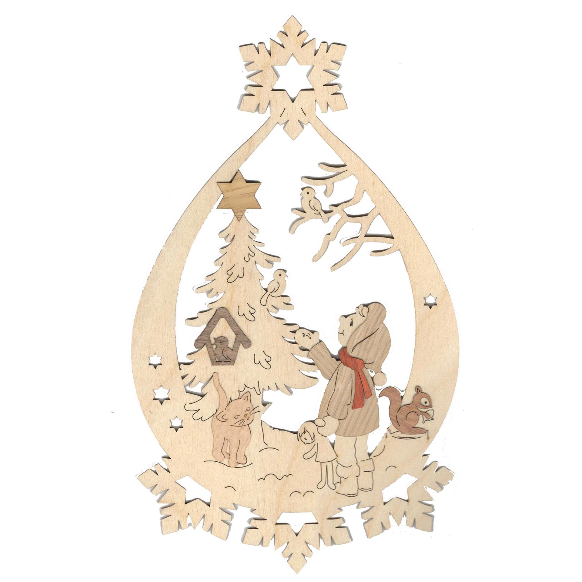 Fensterbild Winterkinder mit Baum