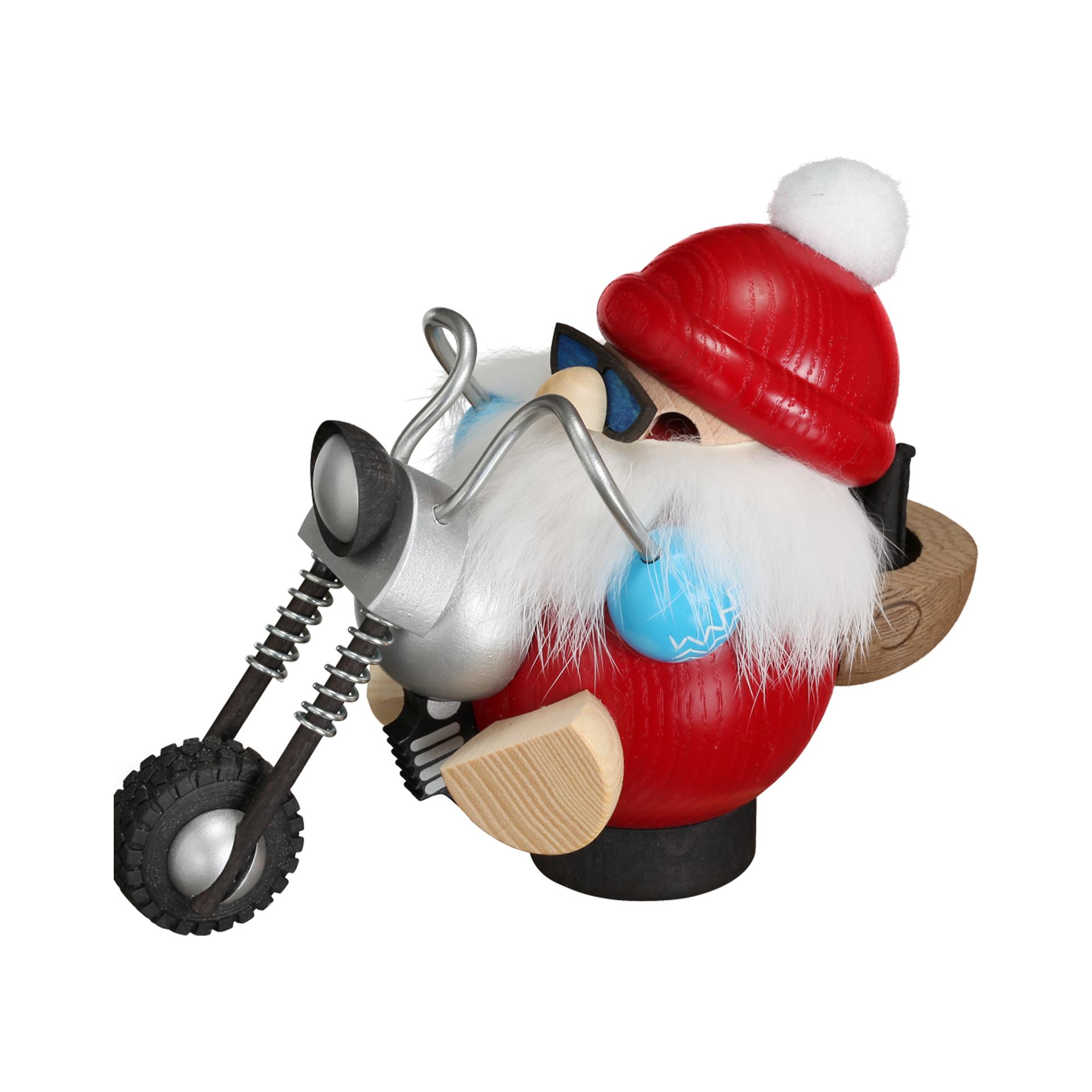 Rauchfigur Nikolaus mit Motorrad