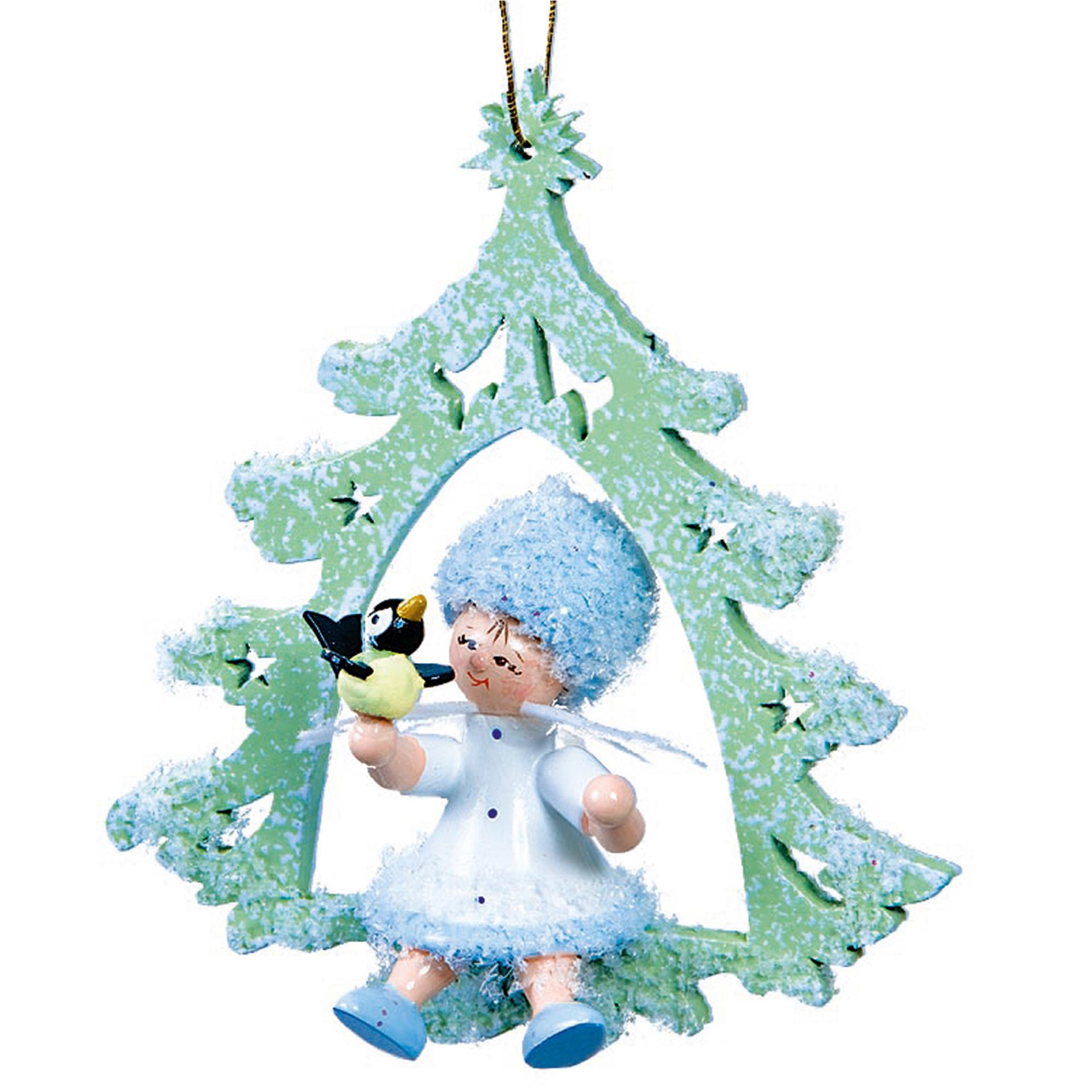 Baumschmuck Schneeflöckchen mit Vögelchen im Baum
