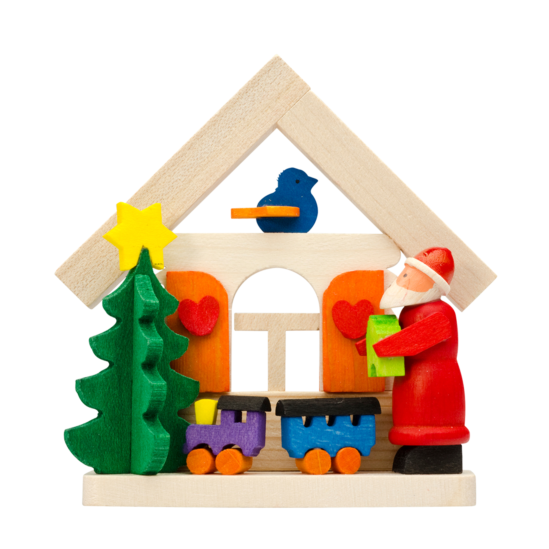 Baumschmuck Haus mit Weihnachtsmann und Eisenbahn