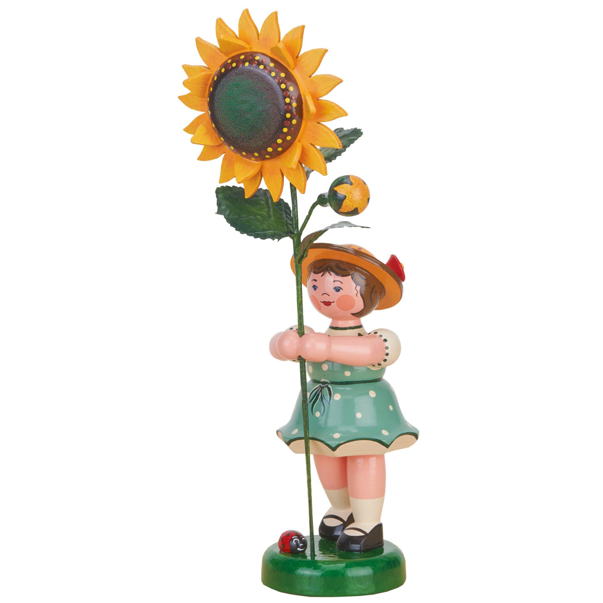 Blumenkind Mädchen mit Sonnenblume, groß